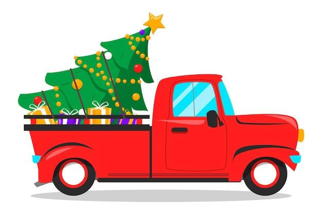 Roter weihnachtslastwagen und -baum mit geschenken innen. dezember feiertagsfeier.