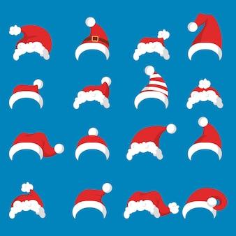 Roter weihnachtsmann flauschiger hut oder mützensatz. sammlung von accessoires für weihnachten und neujahr. winterferien. teil des traditionellen cotume. illustration im cartoon-stil