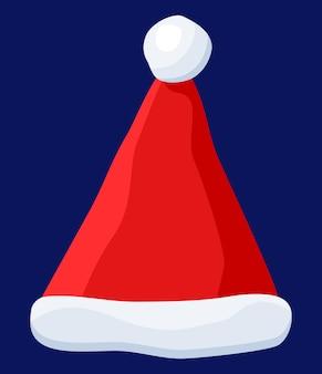 Roter weihnachtsmann-hut lokalisiert auf blauem hintergrund. hut mit pelz und pompon. frohes neues jahr dekoration. frohe weihnachten kleidung urlaub. neujahrs- und weihnachtsfeier. vektor-illustration im flachen stil