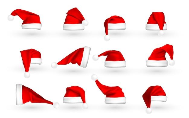Roter weihnachtsmannhut lokalisiert auf weißem hintergrund