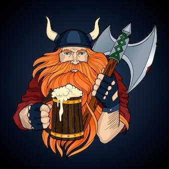 Roter wikinger mit axt und einer tasse bier