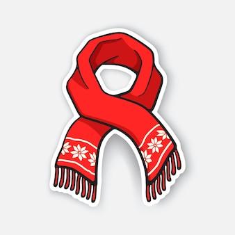 Roter winterschal mit schneeflockenmuster weihnachtszubehör vektorillustration