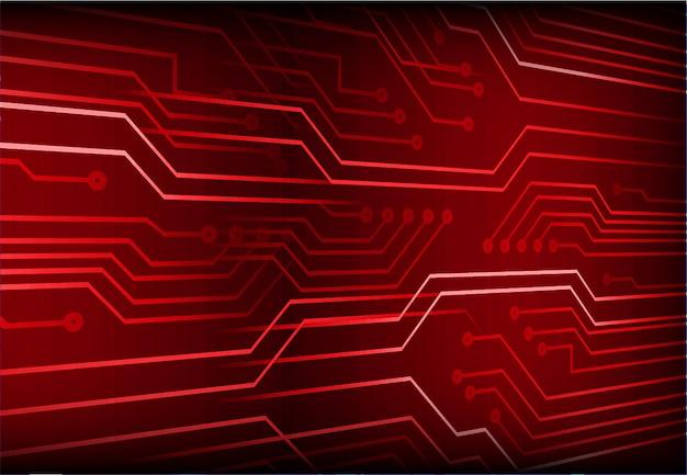 Roter zukünftiger technologiekonzepthintergrund des cyberstromkreises
