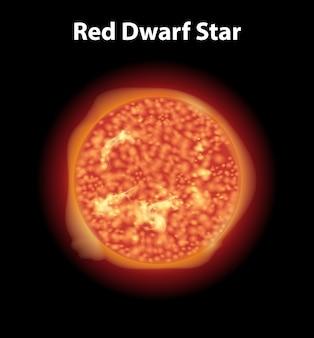 Roter zwergstern auf dunklem raum