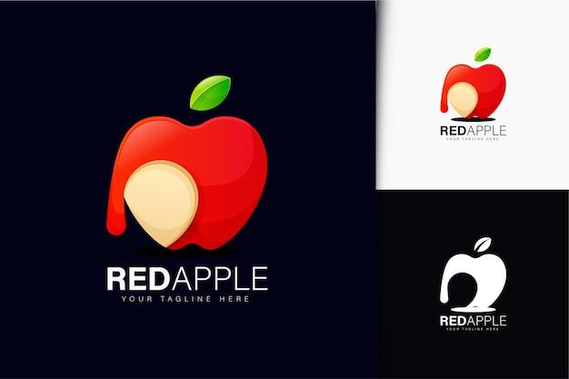 Rotes apfel-logo-design mit farbverlauf