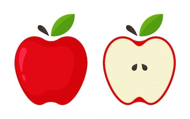 Rotes apple-symbol. vector rote äpfel, die zur hälfte vom weißen hintergrund aufgespaltet werden.
