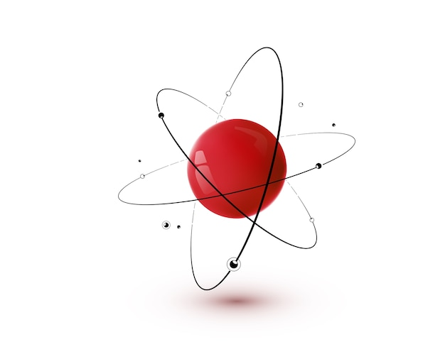Rotes atom mit isoliertem kern, bahnen und elektronen. 3d-kernchemie-technologiekonzept.