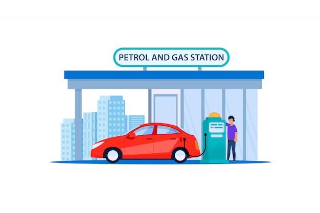 Rotes auto auf benzin und tankstelle. füllen sie den kfz-kundendienst am straßenrand wieder auf. mann, der erdöl in der limousinen-fahrzeug-reise-fahrt tankt. automobiltreibstoff-energie-flache illustration.