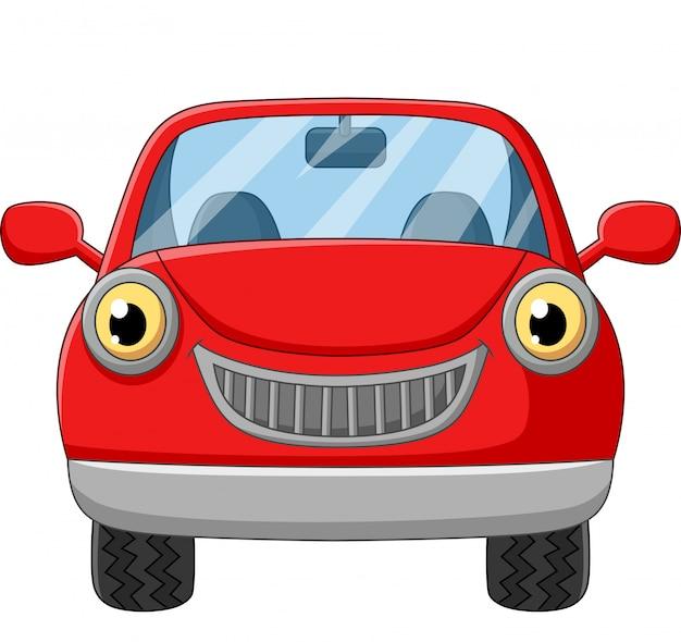 Rotes auto der karikatur auf weiß