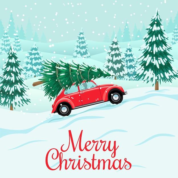 Rotes auto mit weihnachtsbaum auf dach, schneewald, vorbereitung für feier
