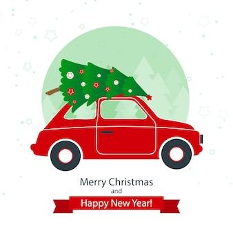 Rotes auto mit weihnachtsbaum auf dem winterhintergrund