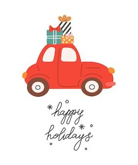 Rotes auto mit weihnachtsgeschenkhandbeschriftung frohe feiertage-vektorillustration im flachen stil