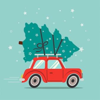 Rotes auto trägt den weihnachtsbaum. frohe weihnachten grußkarte. vektor-illustration