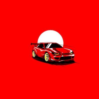 Rotes auto und der mond