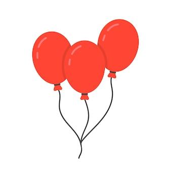 Rotes ballonsymbol mit seil. konzept des glücklichen valentinstags, erholung, erholungsparkartikel, festival, spielzeug. isoliert auf weißem hintergrund. flacher stil trend moderne logo-design-vektor-illustration