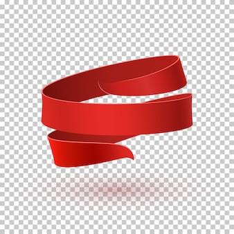 Rotes band, auf transparentem hintergrund. grußkarte, broschüre oder plakatvorlage.