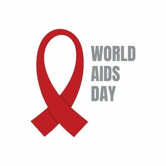 Rotes band für den welt-aids-tag isoliert auf weißem hintergrund.