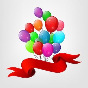 Rotes band und ein bündel fliegende ballone