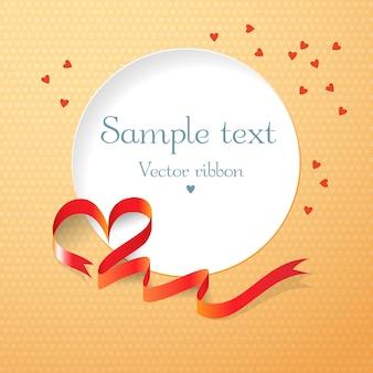 Rotes band und rundes textfeld mit der flachen vektorillustration der herzen