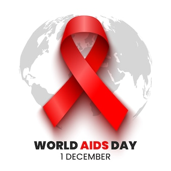 Rotes band. welt-aids-tagesplakat. illustration.