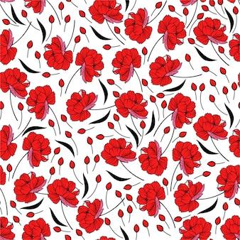 Rotes blühendes blumenmuster. botanische motive zufällig verstreut. nahtlose musterstruktur.