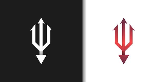 Rotes böses dreizack-logo