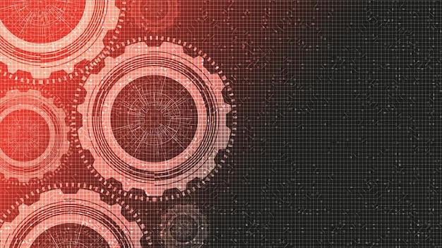 Rotes digitales zahnrad und hahn auf technologie