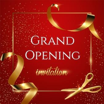 Rotes einladungsbanner der großen eröffnung, glänzende schere, die realistische illustration des goldenen bandes schneidet.