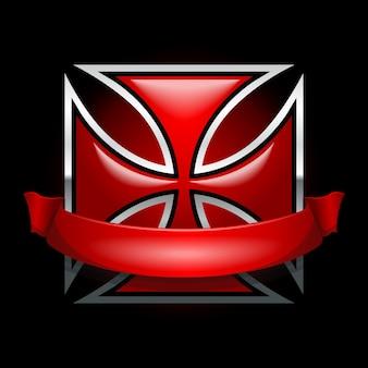 Rotes eisernes kreuz mit fahne