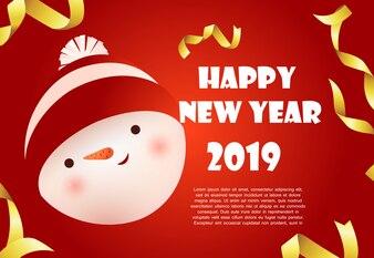 Rotes Fahnendesign des guten Rutsch ins Neue Jahr mit Schneemanngesicht und Beispieltext
