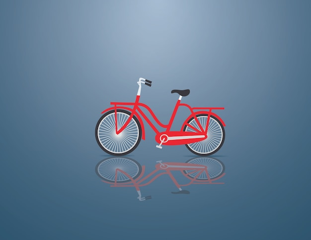 Rotes fahrrad auf dem blauen hintergrund