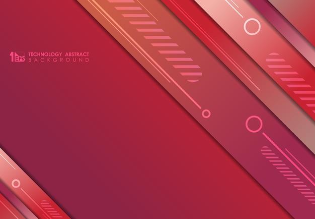 Rotes farbverlaufsdesign der schablonenüberlappung mit geometrischem entwurfstechnologiehintergrund.
