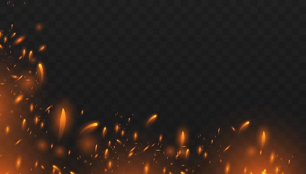 Rotes feuer funkt den vektor, der oben fliegt. brennende glühende partikel. realistischer lokalisierter feuereffekt mit rauche für dekoration und bedeckung auf dem transparenten.