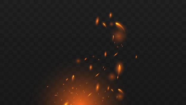 Rotes feuer funkt den vektor, der oben fliegt. brennende glühende partikel. realistischer lokalisierter feuereffekt