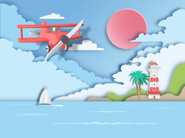 Rotes flugzeug auf meer mit leuchtturm