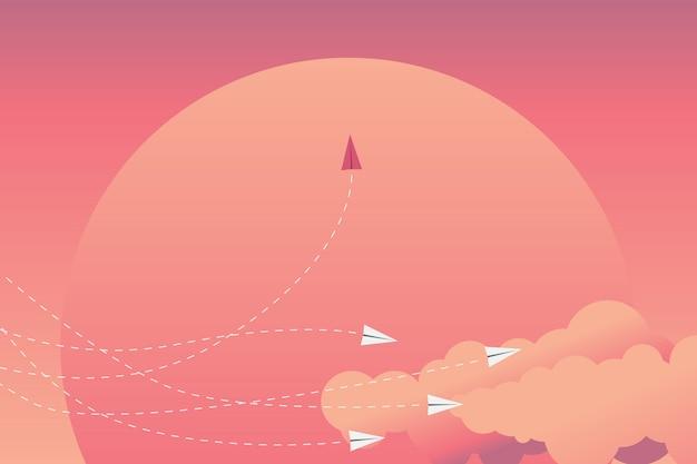 Rotes flugzeug wechselt die richtung und weiße.