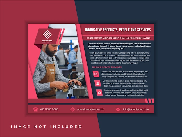 Rotes flyer-vorlagendesign mit beispielüberschrift ist innovative produkte, menschen und dienstleistungen