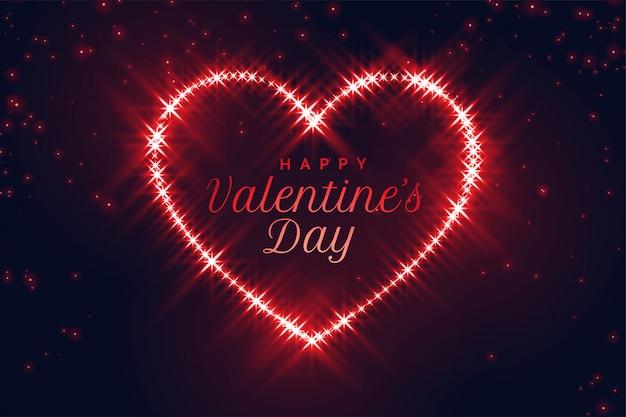 Rotes funkelndes herz für valentinstag
