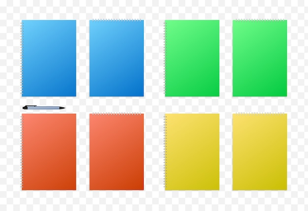 Rotes, gelbes, grünes und blaues papierset