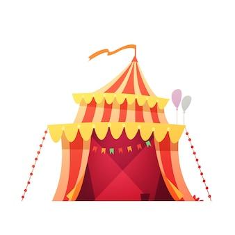 Rotes gelbes zelt des reisenden chapiteau-zirkusses im bereiten der feindshow des vergnügungsparks karikaturikonen-illustrationsvektor