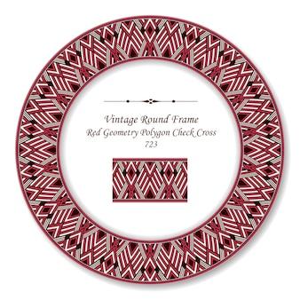 Rotes geometrie-polygonprüfkreuz des roten weinlese-retro-rahmens, antiker stil