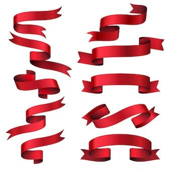 Rotes glänzendes bandbannerset. sammlungsobjektstreifen, rahmen klassisches etikett, vektorillustration