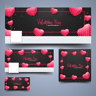 Rotes glattes herz formt auf schwarzen hintergrund für valentinstag