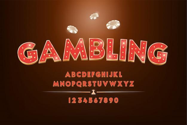 Rotes glücksspiel- und casino-alphabet-schriftsatz