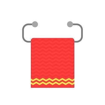 Rotes handtuch auf metallhalter. konzept von papierwaschlappen, lappen, haushaltsgeräten, wesentlichen haushaltsgegenständen, sich selbst abwischen, falten. flacher stil trend moderne logo-grafik-design auf weißem hintergrund