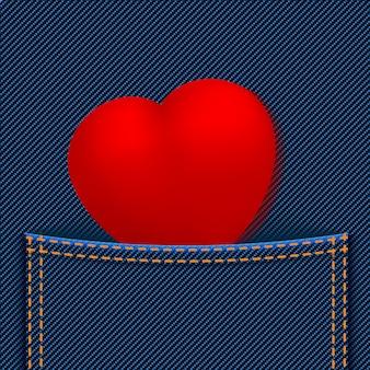 Rotes herz in der tasche