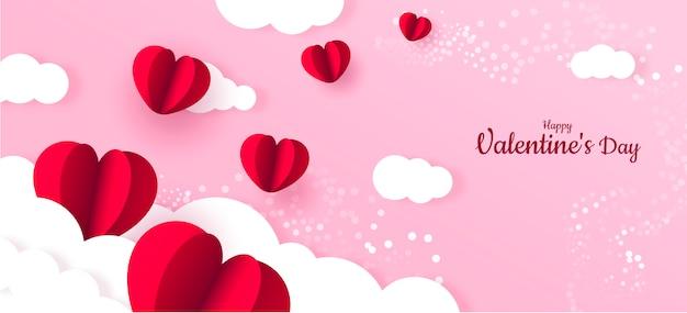 Rotes herz papier valentinstag banner hintergrund