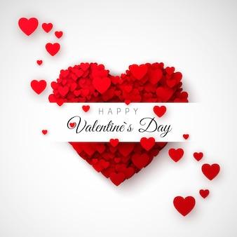 Rotes herz - symbol der liebe. herzkonfetti. tageskarte oder banner des heiligen valentinstag. muster für plakat und umschlag. illustration auf weißem hintergrund
