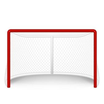 Rotes hockeytor, netto. auf weiß isoliert.
