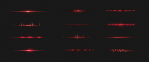 Rotes horizontales linseneffektpaket. laserstrahlen, horizontale lichtstrahlen.